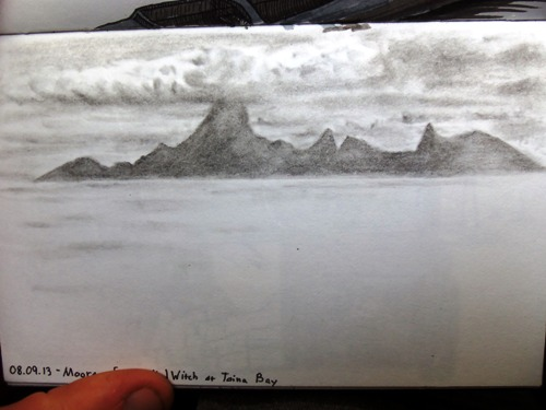 Travel drawing from sketching Moorea across from Tahiti