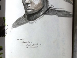 Travel sketch of a Colombian man