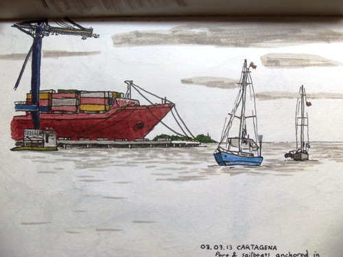Travel sketch of boats in Cartagena Bay