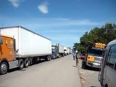 Trucks crossing the border of Costa Rica.