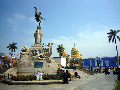 The central plaza of Trujillo, Peru's third largest city.
