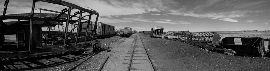 Panorama of the Train Cemetery at Uyuni.