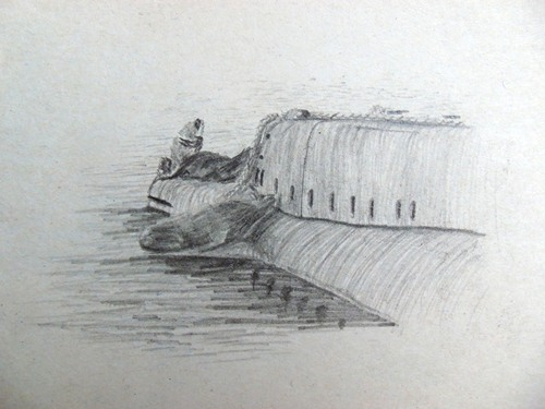 Drawing of a submarine in Valdivia, Chile.