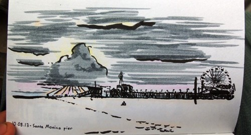 A drawing of Venice Beach at dusk