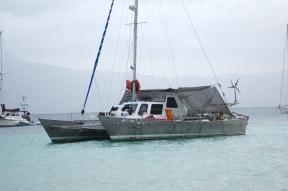 Sairam, the aluminum Wharram catamaran.
