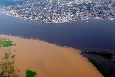 Confluence of the Amazon River with the Tapajós River in Santarem, Brazil.