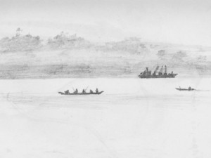 A travel drawing in Brazil of boats on the Amazon River.