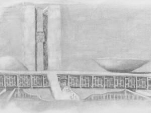 A travel sketch of the Brasilian congress building.