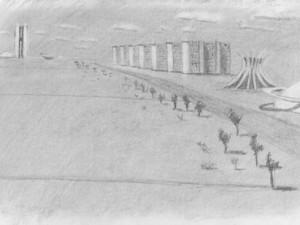 Modern Brasilia drawing