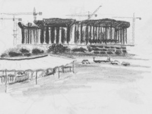 A travel sketch of the Brasilia stadium under construction for the 2014 FIFA World Cup.