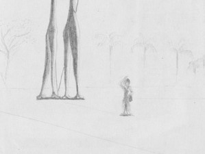 The Brasilian congress has skinny statues behind it, which I drew beside visitors.
