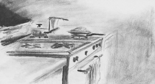 Drawing of a Kitchenette in Caracas, Venezuela