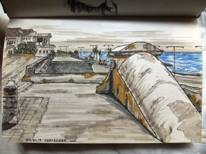 Travel drawing of Cartagena's beautiful walls