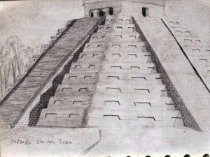 Chichen Itza Pyramid Sketch