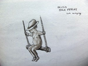 Travel Sketch of Child Swinging
