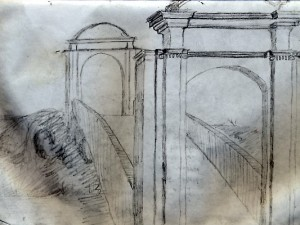 Drawing of Coban bridge in Guatemala