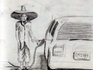 Travel drawing of gas station attendant in Colombia