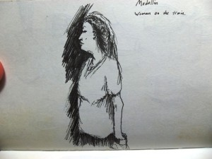 Sketch of woman on a train in Medellin
