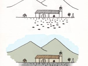 Before and after digital enhancement of a drawing of Quinoa's church.