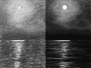 Before and after digital enhancement of a drawing of the Amazon River.
