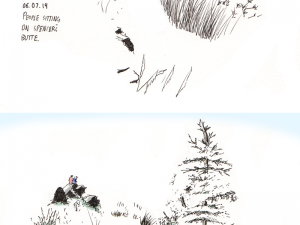 Before and after digital enhancement of a drawing of Spencer's Butte in Eugene, OR.