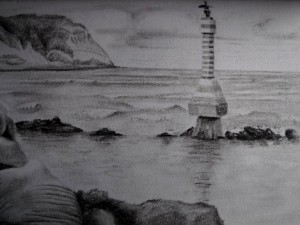 Sitting on the coast of Ecuador, at Bahia, drawing the waves.