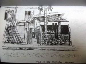Travel drawing of a woodshop in the Galapagos