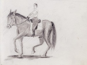 Drawing horseback riding in Costa Rica