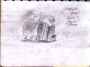 Sketch of a Jaguar Throne in Uxmal