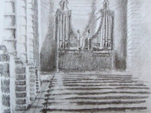 A travel drawing of a cathedral in La Serena, Chile.