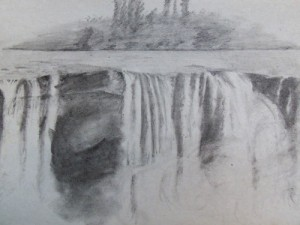 Travel sketching of Lapa Waterfall south of Santiago, Chile
