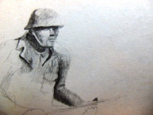 Malvinas Argentina soldier memorial drawing.