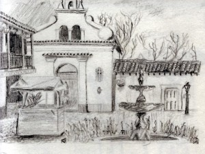 Travel drawing in Antioquia Medellin Colombia