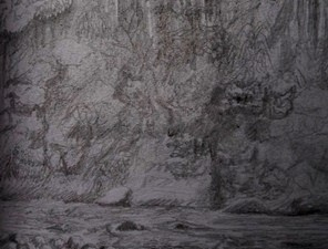 Travel sketching of Amazon at Misahualli in Ecuador