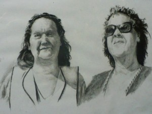 Portrait drawing of two women
