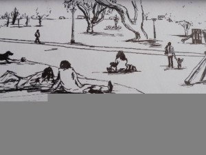 Travel drawing of a Quito Park in Ecuador.