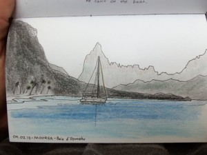 Travel sketching of a sailbaot