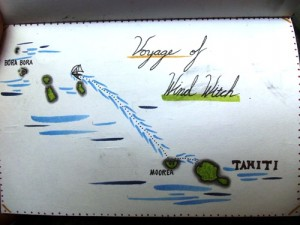 Sailing across the Pacific Ocean travel drawings