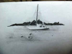 A drawing of a sailboat in Moorea, French Polynesia.