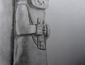 Travel drawing of an old statue in San Agustin, Colombia