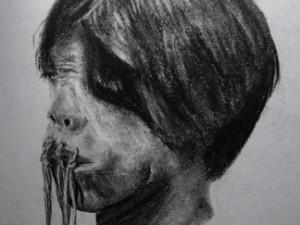 Travel sketching of a shrunken head in Ecuador