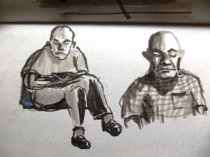 Sketch of an old man at the dentist's