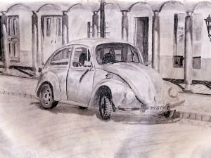 Sketching a VW Beetle in Comitan de Dominguez, Mexico.