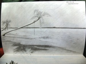 Travel drawing of Suwarrow beach, Cook Islands in the Pacific
