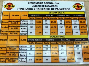 Bolivia Train of Death Schedule and Prices.