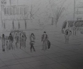 Travel sketch of Bogota plaza