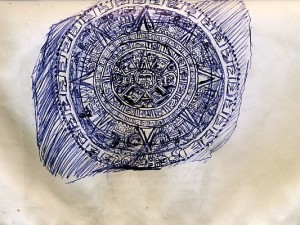Travel Drawing of the Aztec Sun Dial