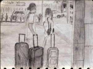 Travel Drawing in the Cancun Airport
