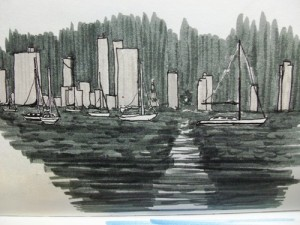 Travel drawing o Cartagena Bay