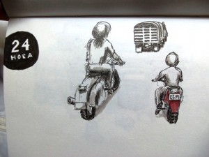 Motorcycles drawing in Medellin